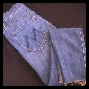 MOTHER DENIM High Waisted Looker Ankle Fray